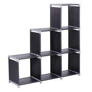 تخزين منظم خزانة تجميعها 3 مستويات 6 مقصورات تخزين رف متعدد أسود خزانة مكدس الملابس وحدات مكعبات السفينة من الولايات المتحدة الأمريكية