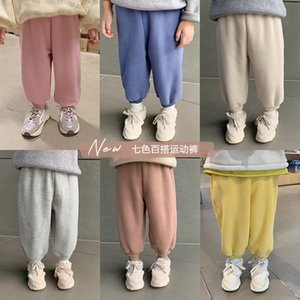 Autumn Winter boys girls solid color thick sweatpants children polar fleece lining casual sports pants kids trousers LJ201127