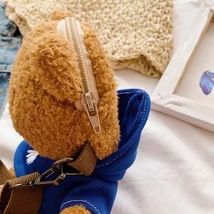 Cute New Style Dress Bear Backpack Stuffed Doll Cartoon Cute Mobile Phone Backpack Plush Bag Toys Gift Girl Kids Toy