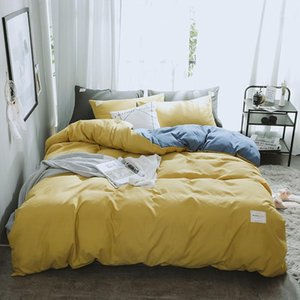 Bedding Sets Luxury Yellow Gray Set Soft Duvet Cover Flat Sheet Double Queen King Bed Linen Simple Solid Color Quilt Cover1