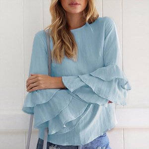 Women Spring Ladies Elegant Blouses Shirts O Neck 3 4 Sleeve Solid Blusas Tops Casual Loose Pullover Plus Size
