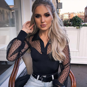 Women Mesh Sheer Blouse See through Long Sleeve Top Shirt Blouse Fashion Lace Transparent White Shirt Female Blusas
