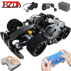BZDA RC Car Technical Racing Monstered go kart Building Blocks Model With APP remote control kids toys Christmas Q1126