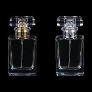 30ML пользовательский логотип прямоугольный штык байнет парфюмерии, алюминиевый спринклер, прозрачная стеклянная бутылка, пустая бутылка