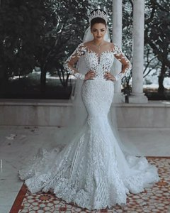 Sparkly Lace Wedding Dress Mermaid Illusion Bodice vestido de noiva Long Sleeve Sheer Neck Appliques Bridal Gowns 2020 Spring