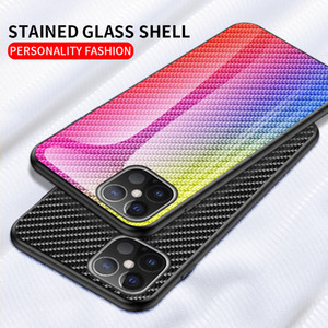 Carbon fiber pattern Tempered Glass Mirror Cell Phone Case For iPhone 12 11 pro Max XR XS MAX 6 7 8 Plus Luxury shockproof Cover