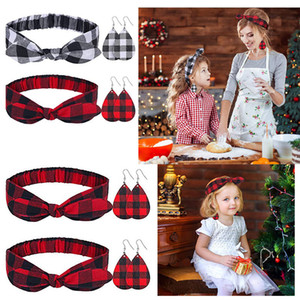 Christmas Parent-child Red Plaid Print Headbands Bowknot Headband Leather Earrings Sets Women Girls Headdress Sweet Hair Accessories E120702