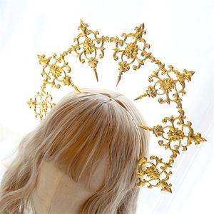Virgin Halo Headband Halo Circle Church Golden Hair Accessories Catwalk Photo Prop Style Fashion Retro Q1124