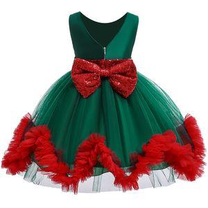 Christmas Elegant Dress Kids Backless Sequin Bow Tutu Mesh Girl Princess Dresses for Wedding Birthday Party Girls Clothes