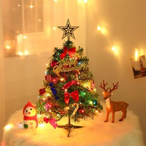 50CM Mini Artificial Christmas Tree Tabletop Christmas Tree with LED-String Lights Hanging Ornaments for Decoration
