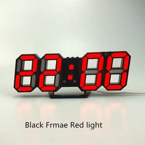 2020 Fashion 3D LED Wall Clock Modern Design Digital Table Clock Alarm Nightlight Watch For Home Living Room Decoration