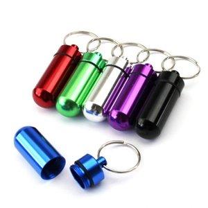 Tıp Şişesi Anahtarlık Anahtarlık Ile Su Geçirmez Alüminyum Hap Kutusu Kılıfı Tablet Saklama Kutusu Şişe Kılıf WY1192