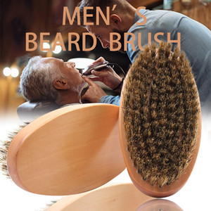 Boar Bristle Hair Beard Brush Hard Round Wood Handle Anti-static Boar Comb Hairdressing Tool For Men Beard Trim Free Shipping