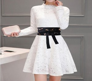 New Fashion Wide Embroidery Waistbands For Women Black Flower Bow Design Hot Slimming Body Belts Corset Girdle Dress Lady Party sqcFlu