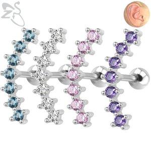 Zs 1pc 7 cz Curve goujons boucles d'oreilles pour femmes en acier inoxydable cartilage tragus boucles d'oreilles nez goujons oreilles piercings plat bijoux