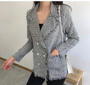 CBAFU tassel tweed jacket women coat outwear long sleeve single button turn down collar casual pocket runway tops red black N763
