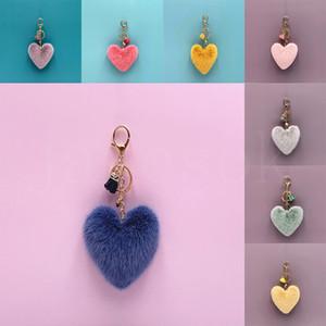 Tassel Plush Peach Coração Keychain das meninas bonitos dos desenhos animados Bag Pingente Heart-Shaped Chaveiro Car Anel ornamento Mulheres Chaveiro Presentes DB231
