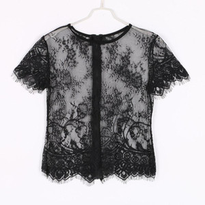 New Women Sexy Hollow Short Sleeve Lace Crop Top Shirt Tops Vest F461