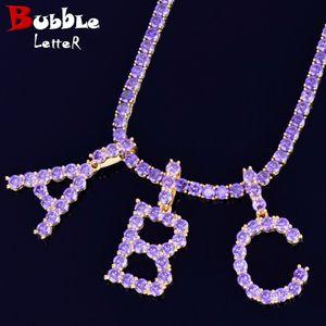 Initial Letter Purple Color Zircon Tennis Letter Necklace for Women A-Z Material Copper Hip Hop Rock Street Necklace With Tennis Chain