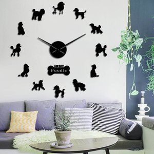 Gift For Poodle Lover 3D DIY Long Hands Wall Clock Dog Club Fashion Decoration With Cute Bone Animals Store Ornament Clock Watch 201202