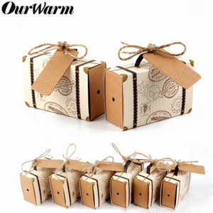 Ourwarm 10pcs Wedding Paper Candy Gift Box Travel Suitcase Chocolate Bag Gifts For Guest Wedding Favor Birthday Party Decoration wmtTCr