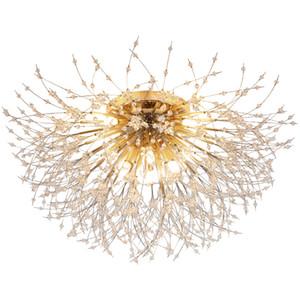 Nordic Bedroom Crystal Ceiling Light Fixtures Modern Golden led Lights For Room Living Room Crystal Lamp Net Red Dining Room Ceiling Lamps