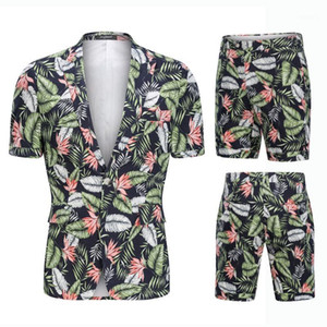 Hight Quality 100% Cotton Men Suits big size Summer Short Sleeve Suits Men's Holiday Wears Printed Suit Blazers and Shorts 2pcs1