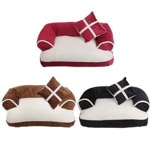 Luxury Double-Cushion Pet Dog Sofa Beds With Pillow Detachable Wash Soft Fleece Bed Warm Small Dog Bed GWD3176