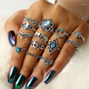 13PCs Set New Vintage Mujer Flower Carved Knuckle Stacking Finger Ring Retro Blue Crystal Turtle Midi Rings Set Charms Jewelry1