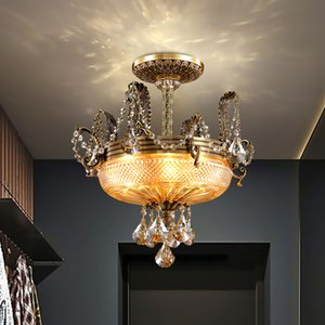 New design copper chandelier lights for hotel villa club decoration classic  crystal chandeliers lamps American ceiling lighting