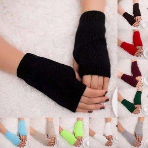 Örme uzun el eldiven kadın sıcak katı renk kış eldiven kadınlar için parmaksız