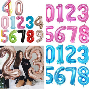 """40 inch 40"""" Big Foil Number Balloons Giant Numbers 0-9 Float Balloons Ball for Valentine Day Birthday Party Wedding New Year Decor E122301"""