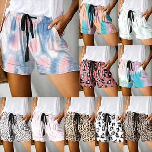 2020 New Tie Dye Print Summer Womens Shorts Beach Mid Waist Straight Tube Shorts Fashion Women Casual Plus Size Short Pants 5XL