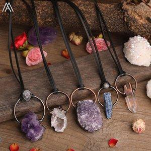 Natürliche Druzy Agate Amethysts Weißer Quarz Stein Point Perlen Bronze Hoop Charms Anhänger Leder Halskette Einstellbar Für Frauen