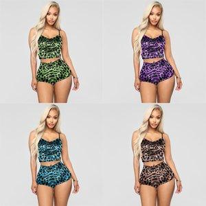 Женские две части спортивный костюм футболки Camisole Tops Shorts Tracksuits Отворотный шейный леопард напечатанные дамы сексуальные вечеринки ночной клуб носить H2510