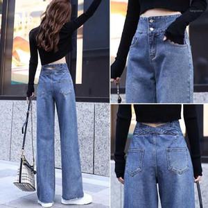 Широкие джинсы для женщин для женщин синие свободные брюки с высокой талией повседневный большой размер прямые брюки парень прямой мама джинсы уличная одежда1