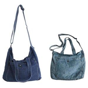 Washed Denim Messenger Bag Female Student Shoulder Bag Hand Sail