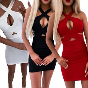 Hollow Out Sexy Women Short Dress Summer 2020 Cross Sleeveless Skinny Sexy Dress Black White Red Package Hip Party Vestido