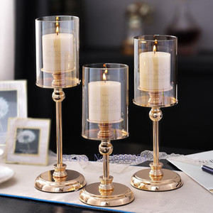 Creative Golden metal glass Retro Candlestick Candle holder romantic dining table Crafts Decoration Modern home decoration