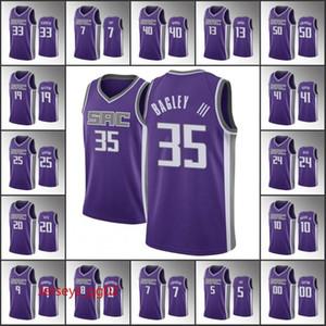 Sacramento.Kings.Männer Marvin Bagley III Buddy Hield de'aaron Fox Harrison Barnes-SymbolNBA Purple Custom Basketball-Trikots