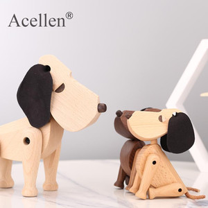 Nordic Wooden Dog Handmade Figures Walnut Denmark Lovely Puppy Toys Home Decoration Doggy Tabletop Ornament Kids Toys Gift
