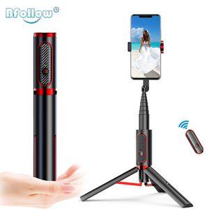 Bfollow 3 em 1 Selfie vara tripé recarregável bluetooth suporte suporte suporte para smartphone xiaomi youtube shoot video Y1128