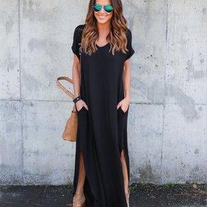 Women Long Loose Maxi Dresses Summer Solid Color Floor Length Casual Dresses Womens Clothing IP8J