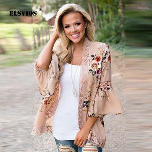 Elsvios boho estampado floral encaje patchwork gasa blusa 2018 mujer flare manga larga elegante otoño camisas más tamaño casual tops1