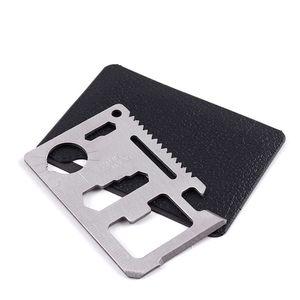 Chasse Camping Survival Couteau de poche 11 en 1 Outils multi-outils Couteau de carte de crédit Acier inoxydable Outils de survie à l'extérieur