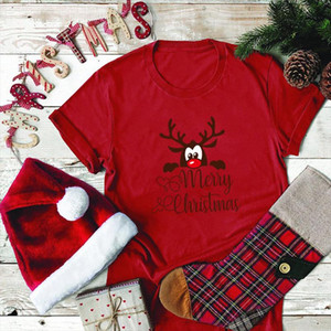 Merry Christmas Shirts for Women Cute Elk Printing Aesthetic Clothes Tops Holiday Plus Size S 5xl Gift for Lady Woman T Shirts