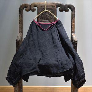 Women Spring 2020 Linen Blouse Ladies Vintage Solid Color Retro Lantern Sleeve Plus Size Shirt Tops Summer Flax Shirt