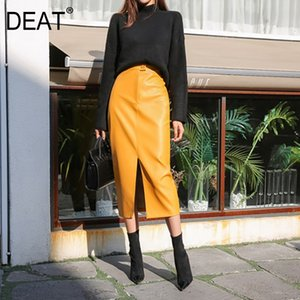 [DEAT] 2020 Fast Delivery New Fashion Korean Female PU Leather High Quality Mid-calf Length Spit Sexy High Waist Skirt AY095 Q1117