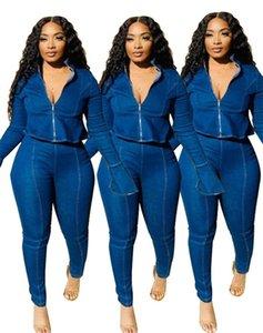 Womens denim pants sexy split trousers legging fashion print panelled slim women club pant swing legs klw6078