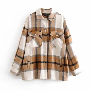 Fashionable New Turn-down Collar Plaid Jacket Women Checkered Pockets Full Sleeve Oversize Coat Female Outwear Warm Causal Tops